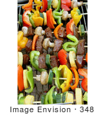 #348 Photo Of Veggies And Meat On Skewers On A Bbq