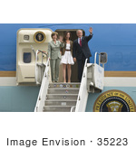 #35223 Stock Photo Of President George W Bush First Lady Laura Bush And Daughter Barbara Bush Waving As They Exit Air Force One