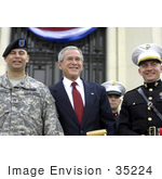#35224 Stock Photo Of President George W Bush Posing With Wounded Service Members During The Walter Reed National Military Medical Center Ground Breaking Ceremony Held At Bethesda Naval Hospital
