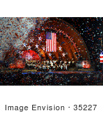 #35227 Stock Photo of Confetti Falling Around an American Flag at a Concert by JVPD