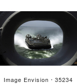#35234 Stock Photo Of A Landing Craft Air Cushion Assigned To Assault Craft Unit 4 Approaching The Multipurpose Amphibious Assault Ship Uss Iwo Jima