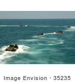 #35235 Stock Photo Of Amphibious Assault Vehicles Disembarking The Amphibious Dock Landing Ship Uss Carter Hall