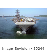#35244 Stock Photo Of The Nimitz-Class Aircraft Carrier Uss Ronald Reagan (Cvn 76) Dropping Anchor In Sasebo Harbor In Sasebo Japan For A Port Call
