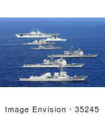 #35245 Stock Photo Of American Canadian And Japanese Navy Ships Transit The Pacific Ocean