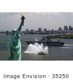 #35250 Stock Photo Of The Amphibious Assault Ship Uss Kearsarge On The Hudson River Passing By The Statue Of Liberty In New York During The Parade Of Ships For Fleet Week 2008