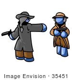 #35451 Clip Art Graphic Of A Blue Guy Character Dueling With Another
