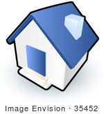 #35452 Clip Art Graphic of a Blue and White Home by Jester Arts