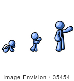 #35454 Clip Art Graphic of a Blue Guy Character Growing From A Baby To An Adult by Jester Arts