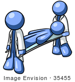 #35455 Clip Art Graphic Of A Blue Guy Character Being Carried By Paramedics On A Stretcher