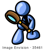 #35461 Clip Art Graphic Of A Blue Guy Character Kneeling And Using A Magnifying Glass