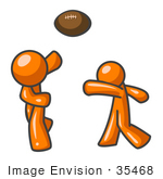 #35468 Clip Art Graphic Of An Orange Guy Character Tossing A Football To His Partner