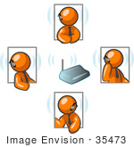 #35473 Clip Art Graphic Of Orange Guy Characters In Four Poses Holding A Meeting With Headsets