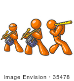 #35478 Clip Art Graphic Of Orange Guy Characters Playing Drums And Flutes In A Band