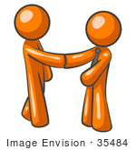 #35484 Clip Art Graphic of Orange Guy Characters Shaking Hands At The Office by Jester Arts