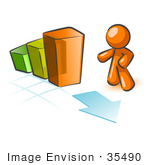 #35490 Clip Art Graphic Of An Orange Guy Character Looking Down At An Arrow On A Bar Graph