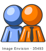 #35493 Clip Art Graphic of an Orange Guy Character Standing In Front Of His Blue Employee by Jester Arts