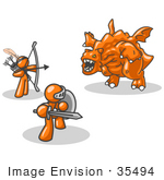 #35494 Clip Art Graphic Of An Orange Guy Characters Fighting Off A Dragon Beast With Weapons