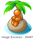 #35497 Clip Art Graphic Of An Orange Guy Character Sitting Alone Under A Palm Tree On A Deserted Tropical Island