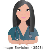 #35581 Clip Art Graphic Of A Pretty Female Asian Nurse Doctor Or Vet With A Stethoscope Around Her Neck Listening To A Patient