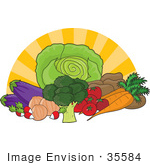 #35584 Clip Art Graphic Of The Sun Bursting Behind Fresh And Organic Produce; Lettuce Potatoes Tomatoes Carrots Broccoli Onions Radishes And Eggplants