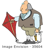 #35604 Clip Art Graphic Of Benjamin Franklin Conducting His Electrical Experiment With A Skeleton Key On A Rope To A Red Flag