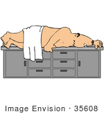 #35608 Clip Art Graphic Of A Nude Man Lying Nervously On A Table Waiting For A Colonoscopy