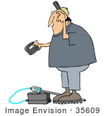 #35609 Clip Art Graphic Of A Man Scratching His Head And Reading A Gas Meter Pager