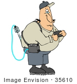 #35610 Clip Art Graphic Of A Caucasian Man Wearing A Gas Meter Detector And Checking A Pager