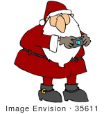 #35611 Clip Art Graphic Of Saint Nicholas In Red Snapping Pictures With A Digital Camera