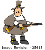 #35613 Clip Art Graphic of a Male Pilgrim Hunting For Turkey Birds With A Rifle by DJArt