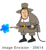 #35614 Clip Art Graphic Of A Male Pilgrim Spraying Off A Building With A Power Washer