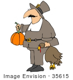 #35615 Clip Art Graphic Of A Male Pilgrim Presenting Fellow People With A Pilgrim And Turkey For A Feast
