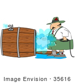 #35616 Clip Art Graphic Of An Oktoberfest Man Spraying Out A Wooden Beer Barrel With A Pressure Washer