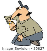 #35627 Clip Art Graphic Of A Kneeling Caucasian Man Checking The Time On His Watch