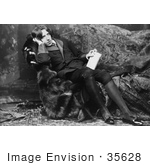 #35628 Stock Photo Of Oscar Wilde Reclined On A Sofa Holding A Book And Leaning His Head On His Hand