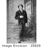 #35629 Stock Photo of Oscar Wilde Standing By Windows, One Arm At His Side, The Other At His Stomach, Looking Off by JVPD