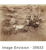 #35633 Stock Photo Of A Group Of People Riding A Horse Drawn Stagecoach Owned By Tallyho Coaching At The Great Hot Springs Of Dakota