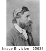 #35634 Historical Stock Photo of a Man, Robert Mcgee, Who Was Scalped By Sioux Chief Little Turtle As A Child In 1864, In Profile In 1890 by JVPD