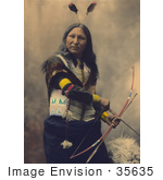 #35635 Stock Photo of a Native American Named Shout At, Oglala Indian, With Two Feathers In His Hair, Looking At The Viewer And Holding A Bow And Arrows by JVPD