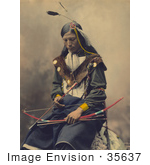 #35637 Stock Photo Of A Native American Named Bone Necklace Council Chief Oglala Sioux Seated With A Bow And Arrows And Looking Down