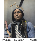 #35638 Stock Photo Of A Native American Named Left Hand Bear Oglala Indian Chief Wearing A Breast Plate And Looking Off To The Right