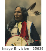 #35639 Stock Photo Of A Native American Named Strikes With Nose Oglala Sioux Chief With Two Feathers In His Hair Looking Off To The Left