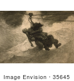 #35645 Stock Illustration Of A Man On A Pully Ship Saving Apparatus, Saving A Drowning Woman From A Stormy Sea by JVPD