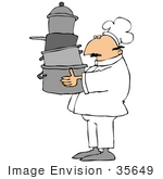 #35649 Clip Art Graphic Of A Tired Male Caucasian Chef In A White Uniform Carrying Pots To His Work Station In A Kitchen