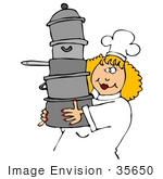 #35650 Clip Art Graphic Of A Friendly Female Caucasian Chef With Blond Hair Wearing A White Hat And Uniform Carrying A Stack Of Pots To Her Kitchen Work Station