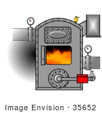 #35652 Clip Art Graphic Of Gauges On Pipes Connecting To A Hot Boiler With The Door Open Showing Flames