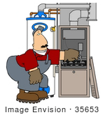 #35653 Clip Art Graphic Of A Caucasian Man Bending And Repairing A Furnace By A Water Heater