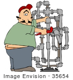 #35654 Clip Art Graphic Of A Caucasian Man With A Surprised Expression Adjusting Pipes And Caught With His Butt Crack Showing