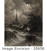 #35656 Stock Illustration Of A Snow Covered Street With Pedestrians And A Horse Drawn Sleigh Near A Church In The Moonlight