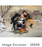 #35658 Stock Illustration Of Two Boys Flirting And Competing For The Love Of A Blond Girl Who They Are Pushing On A Sled As They Skate On Ice